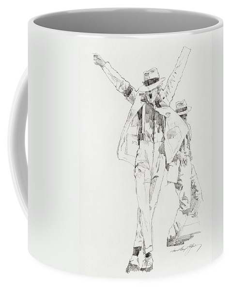 Michael Jackson Coffee Mug featuring the drawing Michael Smooth Criminal by David Lloyd Glover