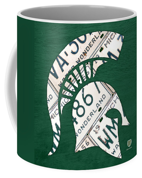 Michigan Coffee Mug featuring the mixed media Michigan State Spartans Sports Retro Logo License Plate Fan Art by Design Turnpike