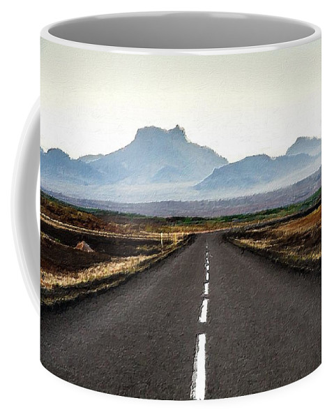 Road Coffee Mug featuring the painting Middle Of Nowhere by Florian Rodarte