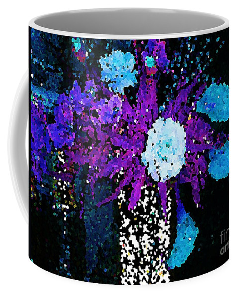 Digital Photo Coffee Mug featuring the painting Midnight Callas And Orchids Abstract by Saundra Myles