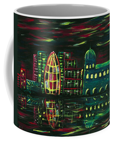 Malakhova Coffee Mug featuring the painting Midnight City by Anastasiya Malakhova