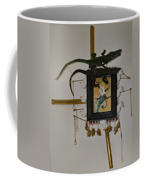 Abstract Modern Outsider Raw Creature Green Yellow Ball Balls Coffee Mug featuring the painting Midnight Cookies - Framed by Nancy Mauerman