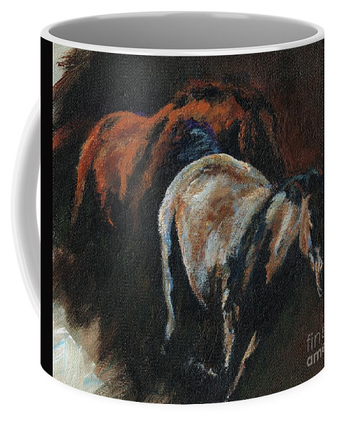 Horses Coffee Mug featuring the painting Midnight Run by Frances Marino