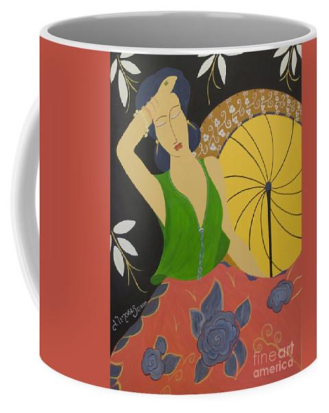 #female Coffee Mug featuring the painting Midnight Sun by Jacquelinemari