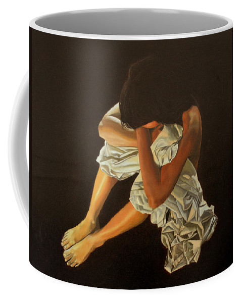 Figure Coffee Mug featuring the painting Midnight by Thu Nguyen