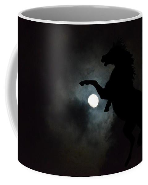 Midnight's Clarion Call Coffee Mug featuring the digital art Midnight's Clarion Call by Maria Urso