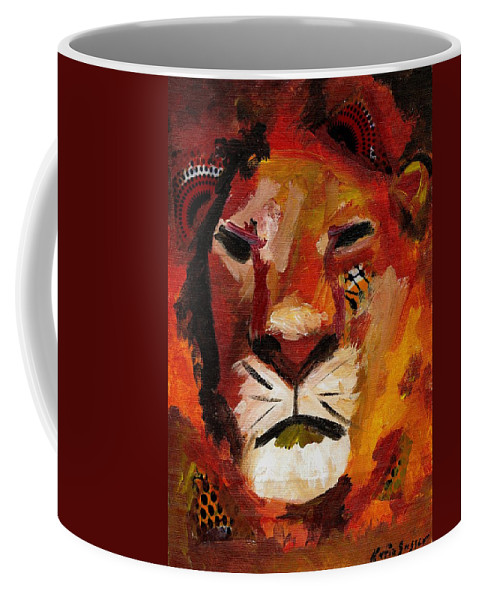 Lion Coffee Mug featuring the painting Mighty Lion by Katie Sasser