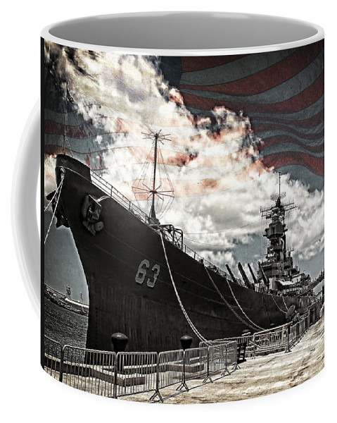 Battleship Coffee Mug featuring the photograph Mighty Mo U.s.s. Missouri by Ken Smith