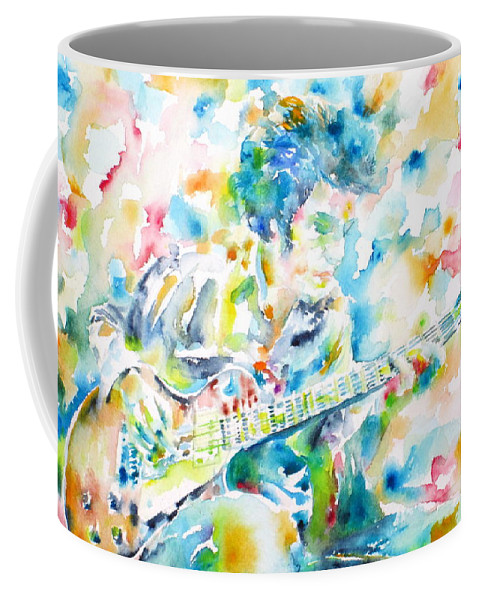 Bloomfield Coffee Mug featuring the painting Mike Bloomfield Playing The Guitar - Watercolor Portrait by Fabrizio Cassetta
