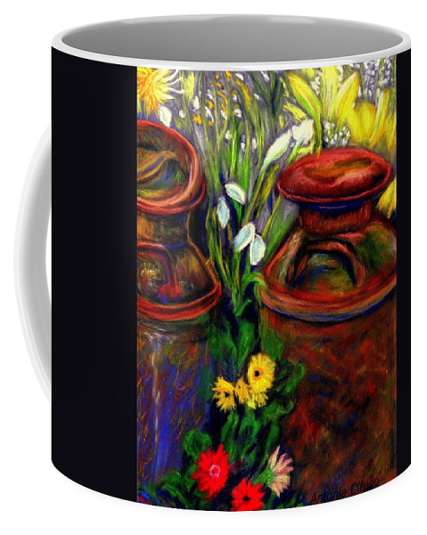 Milk Cans Coffee Mug featuring the pastel Milk Cans At Flower Show Sold by Antonia Citrino