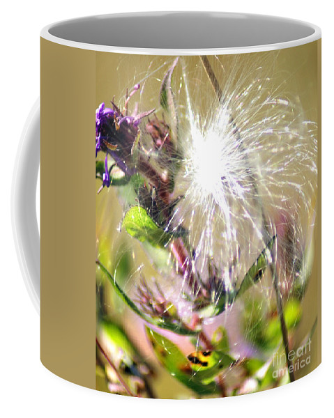 Cotton Coffee Mug featuring the photograph Milkweed Cotton by Optical Playground By MP Ray