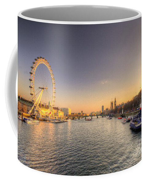 Millennium Coffee Mug featuring the photograph Millenium Wheel Dusk by Rob Hawkins