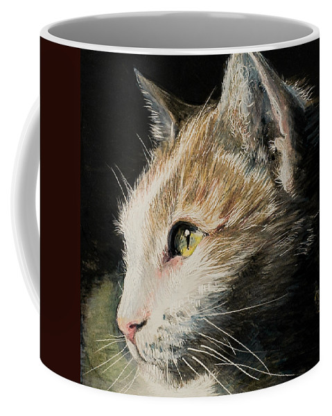 Cat Coffee Mug featuring the drawing Milo by Lis Zadravec