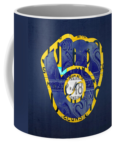 Milwaukee Brewers Coffee Mug featuring the mixed media Milwaukee Brewers Vintage Baseball Team Logo Recycled Wisconsin License Plate Art by Design Turnpike
