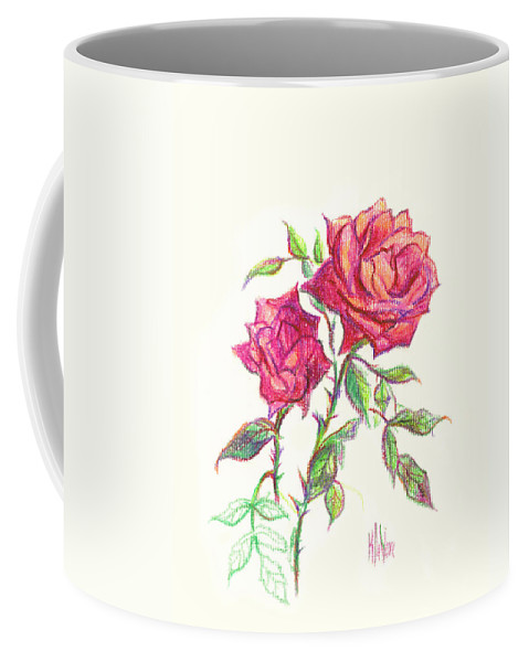 Nature Coffee Mug featuring the painting Minature Red Rose by Kip DeVore