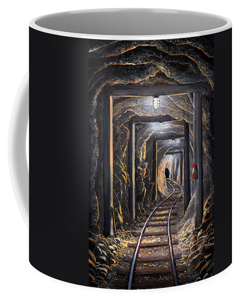 Mural Coffee Mug featuring the painting Mine Shaft Mural by Frank Wilson