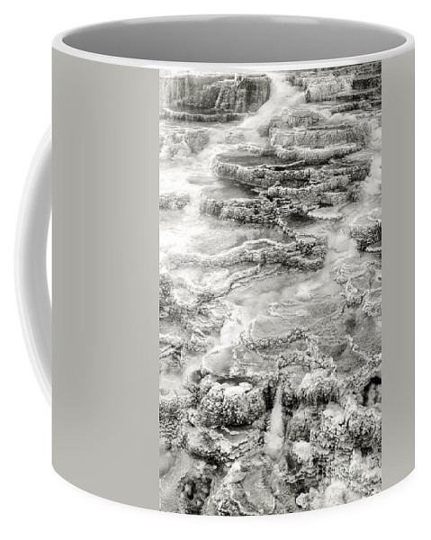 America Coffee Mug featuring the photograph Minerva Springs In Black And White Yellowstone National Park Wyoming by Dave Welling