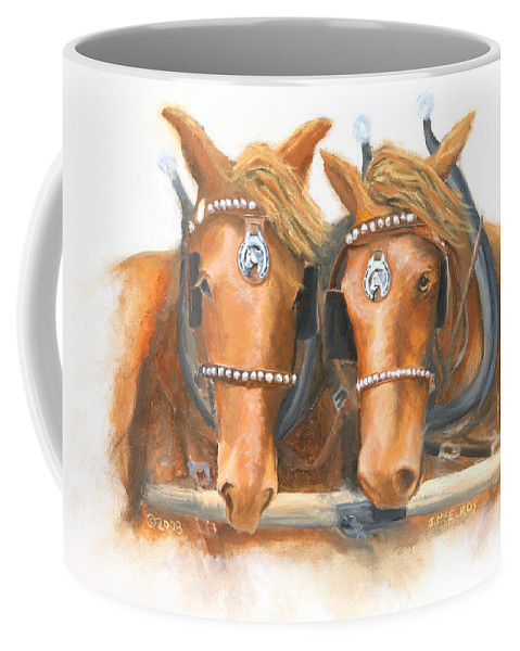 Horse Coffee Mug featuring the painting Mini And Jake by Jerry McElroy