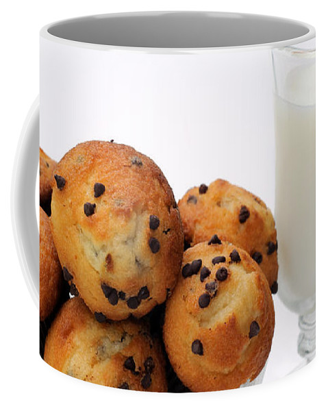 Andee Design Muffins Coffee Mug featuring the photograph Mini Chocolate Chip Muffins And Milk - Bakery - Snack - Dairy - 1 by Andee Design