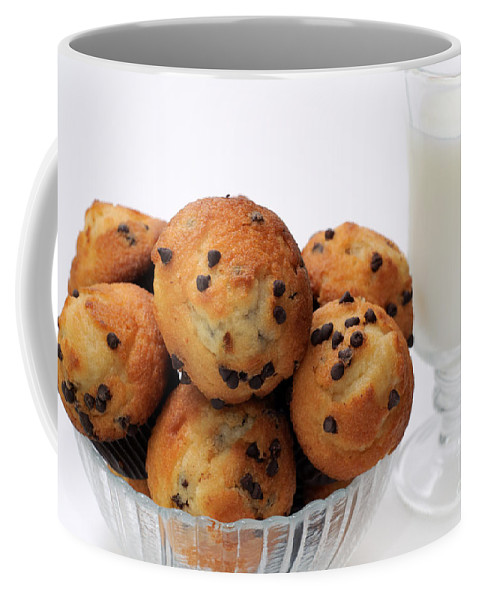 Andee Design Muffins Coffee Mug featuring the photograph Mini Chocolate Chip Muffins And Milk - Bakery - Snack - Dairy - 2 by Andee Design