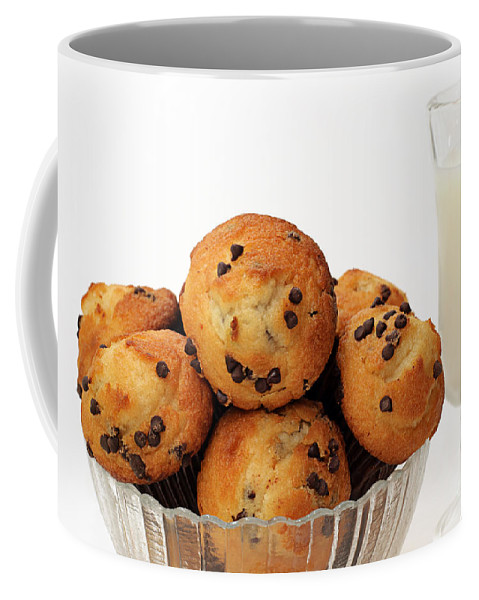 Andee Design Muffins Coffee Mug featuring the photograph Mini Chocolate Chip Muffins And Milk - Bakery - Snack - Dairy - 3 by Andee Design