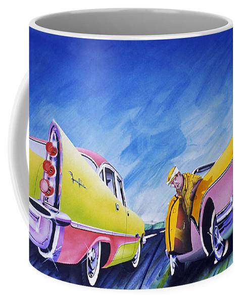 Fifties Automobiles Coffee Mug featuring the painting Minnesota Flat by Charles Stuart