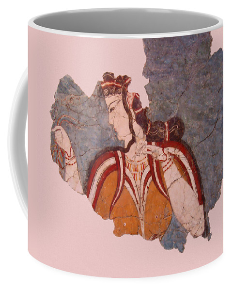 Minoan Wall Painting Coffee Mug featuring the photograph Minoan Wall Painting by Ellen Henneke
