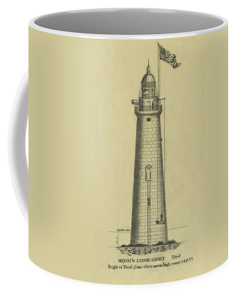Minot's Ledge Lighthouse Coffee Mug featuring the drawing Minot's Ledge Lighthouse by Jerry McElroy