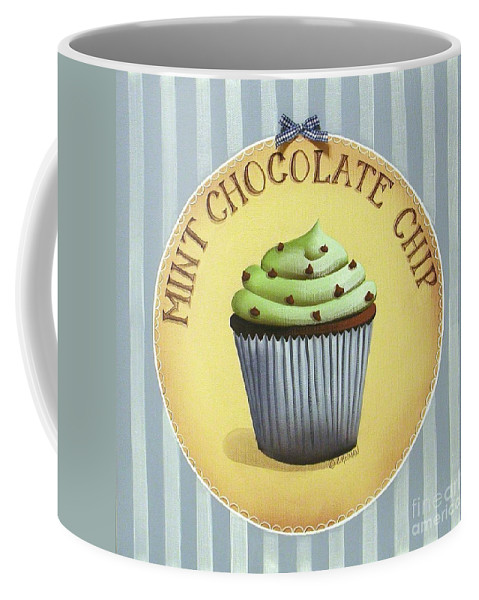 Art Coffee Mug featuring the painting Mint Chocolate Chip Cupcake by Catherine Holman