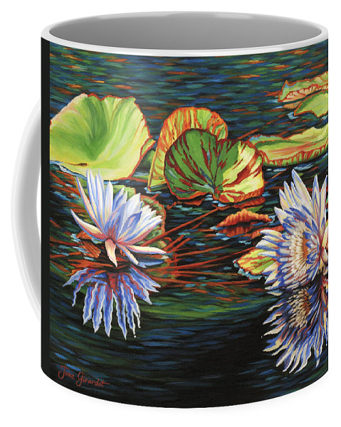 Lily Lilies Water Pond Pad Flower Flowers Floral Lake Coffee Mug featuring the painting Mirrored Lilies by Jane Girardot