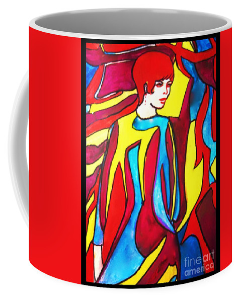 Fashion Coffee Mug featuring the painting Miss 1966 Detail 2 by Joan-Violet Stretch