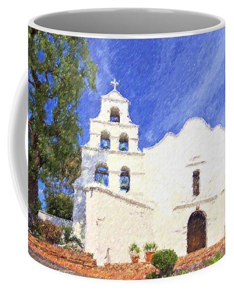 Mission Basilica San Diego De Alcala Coffee Mug featuring the digital art Mission Basilica San Diego De Alcala Usa by Liz Leyden