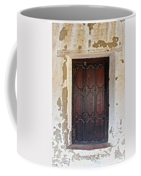 Landscape Coffee Mug featuring the photograph Mission Door by FlyingFish Foto