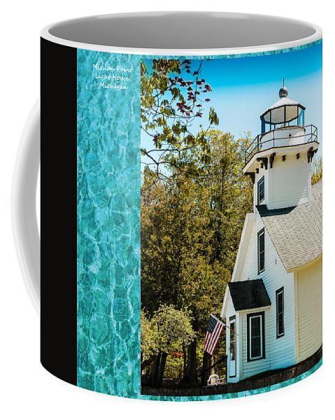 Mission Point Light House Michigan Coffee Mug featuring the photograph Mission Point Light House Michigan by LeeAnn McLaneGoetz McLaneGoetzStudioLLCcom
