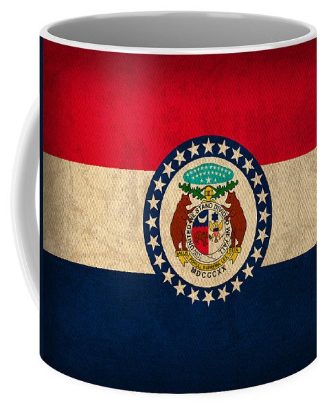 Missouri Coffee Mug featuring the mixed media Missouri State Flag Art On Worn Canvas by Design Turnpike