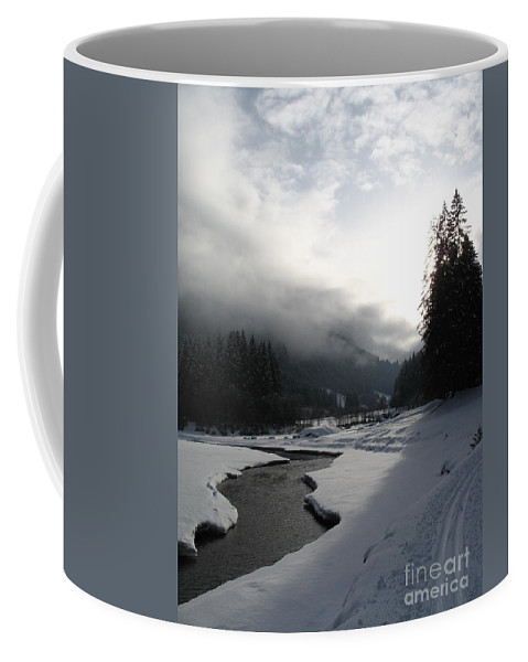 Valley Coffee Mug featuring the photograph Mist Over A Snowy Valley by Christiane Schulze Art And Photography