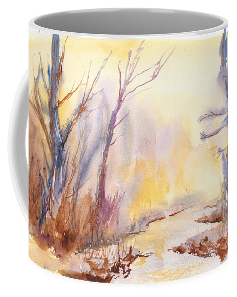 Watercolor Painting Coffee Mug featuring the painting Misty Creek by Walt Brodis