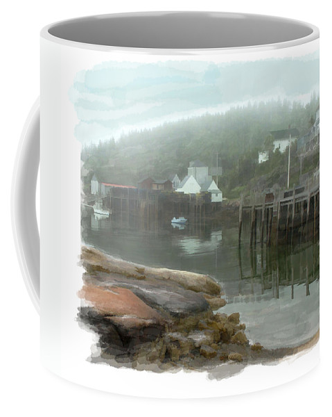 Mist Fog Harbor Port Dock Boats Moody Watercolor Water+color Reflections Pier Town Village Fishing Coffee Mug featuring the painting Misty Harbor by Elaine Plesser