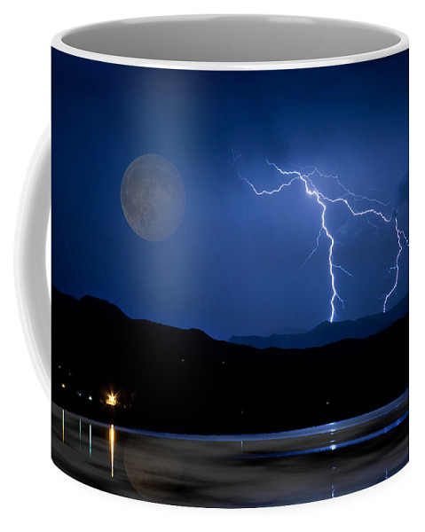 Landscape Coffee Mug featuring the photograph Misty Lake Full Moon Lightning Storm Fine Art Photo by James BO Insogna