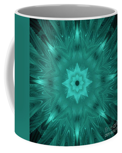 Star Coffee Mug featuring the digital art Misty Morning Star Bloom by Elizabeth McTaggart