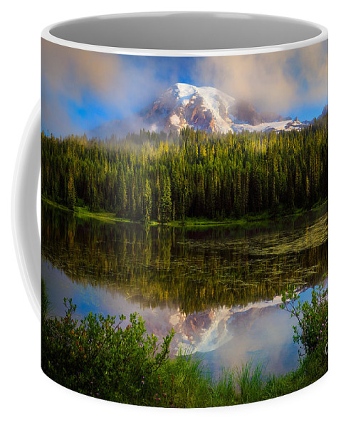 America Coffee Mug featuring the photograph Misty Reflection by Inge Johnsson