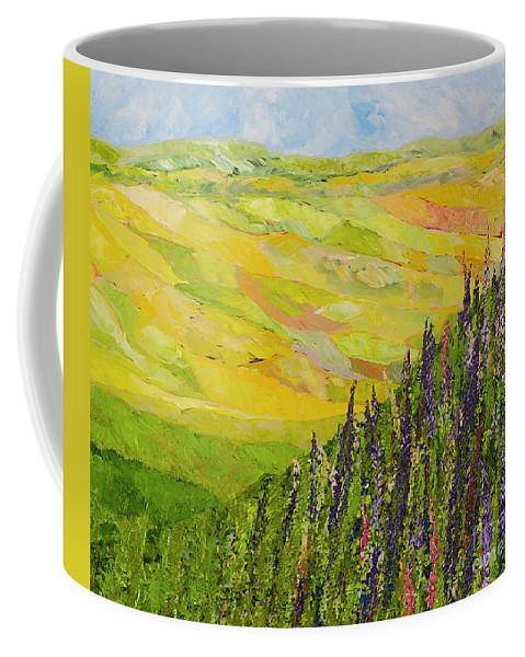 Landscape Coffee Mug featuring the painting Misty Valley by Allan P Friedlander