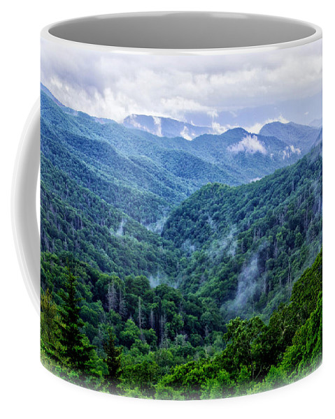 Misty Valley Coffee Mug featuring the photograph Misty Valley by Carolyn Derstine