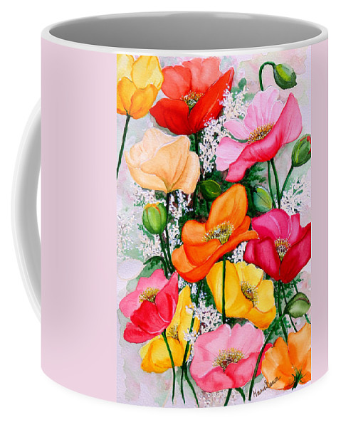 Poppies Coffee Mug featuring the painting Mixed Poppies by Karin Dawn Kelshall- Best