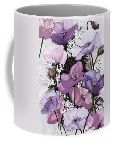Purple Coffee Mug featuring the painting Mixed Poppies Purple by Karin Dawn Kelshall- Best