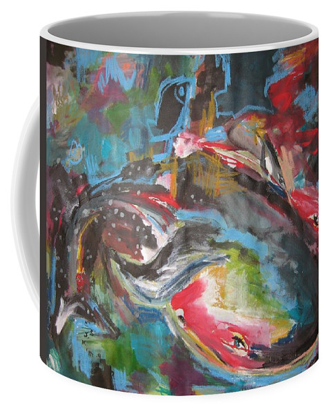 Whale Paintings Coffee Mug featuring the painting Mobie Joe The Whale-original Abstract Whale Painting Acrylic Blue Red Green by Seon-Jeong Kim
