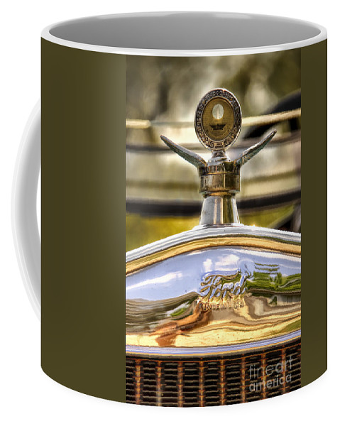 Ford; Car; Detail; Ornament; Hood; Chrome; Auto; Automobile; Transportation; Decor; Rust; Reflection; Close Up; Model T; 1920s; Vintage; Shiny; Glare; Antique; Turn Of The Century; Early 1900s; 20s; Vehicle Coffee Mug featuring the photograph Model T by Margie Hurwich