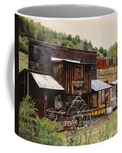 Theatre Coffee Mug featuring the painting Mogollon-theatre-new Mexico by Guido Borelli