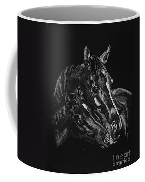 Horse Coffee Mug featuring the drawing Moma's Love by Yenni Harrison