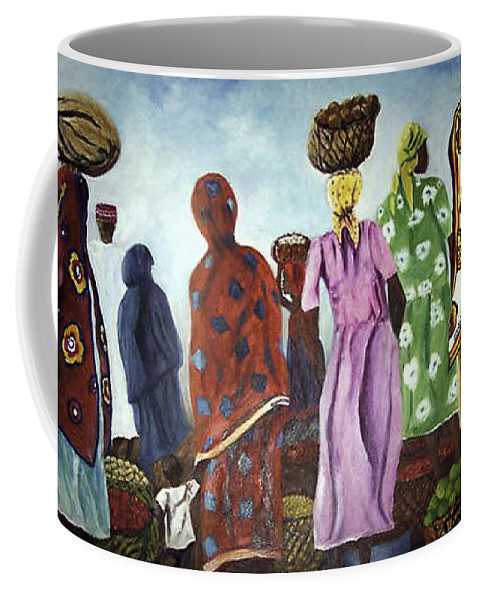Market Coffee Mug featuring the painting Mombasa Market by Sher Nasser